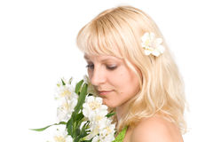 Young woman with blond hair. Closeup, isolated over white Royalty Free Stock Photos