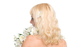 Young woman with blond hair. Closeup, isolated over white Royalty Free Stock Photography