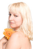 Young woman with blond hair. Closeup, isolated over white Stock Photography