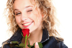 Young woman blonde in portrait romantic red rose Stock Photos