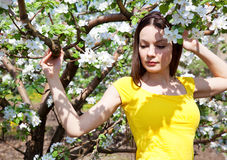 Young woman in blooming garden Stock Image