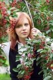 Young woman in a blossoming garden Stock Photos