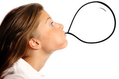 Young woman blowing a baloon. Young nice woman blowing a baloon over white background, a lot of space for text Stock Image