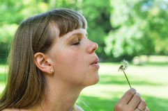 Young woman blowing dandelion flower Stock Photography