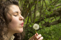 Young woman blowing a flower Stock Images