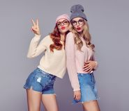 Fashion. Young Woman Blowing lips.Having Fun Crazy Royalty Free Stock Images