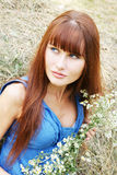 Young woman in blue Royalty Free Stock Photo