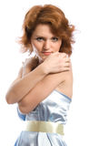 Young woman in blue. Studio shoot on white background Stock Photo