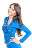 Young woman in blue dress Royalty Free Stock Image