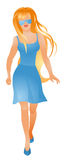 Young woman in a blue dress Royalty Free Stock Image