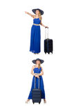 The young woman in blue dress and suitcase isolated on white Stock Photos