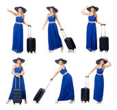 The young woman in blue dress and suitcase isolated on white Royalty Free Stock Photos