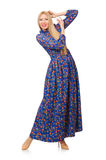 Young woman in blue floral dress isolated on white Royalty Free Stock Image