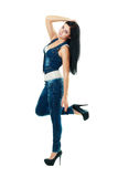 Young woman in blue jeans Stock Photography