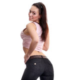 Young woman in a blue jeans. Back ass, young woman in a blue jeans Royalty Free Stock Photo
