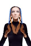 Young woman with blue and orange ribbons Stock Photos