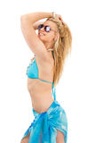 Young woman in blue swimsuit Royalty Free Stock Photos