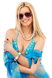 Young woman in blue swimsuit Royalty Free Stock Photo
