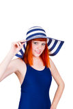 Young woman in a blue swimsuit Stock Photo