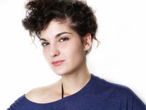 Young woman in blue t-shirt Stock Photo