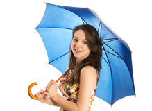 Young woman with blue umbrella Royalty Free Stock Image