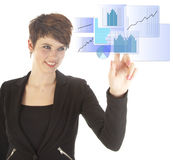 Young woman with blue virtual graph isolated Stock Photos