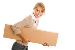 Young woman with board box Royalty Free Stock Photo
