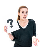 Young woman with board question mark sign Stock Photography