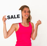Young woman with board sale Stock Photos