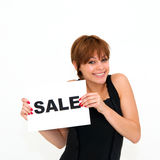 Young woman with board sale Royalty Free Stock Image