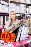 Young woman boasting numerous purchases royalty free stock photos