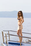 Young woman on the boat Royalty Free Stock Photography