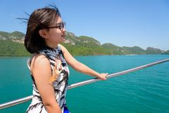 Young woman on the boat Stock Photos