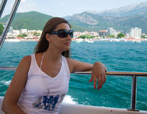 Young woman on boat Royalty Free Stock Photo