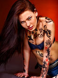 Young woman with body art . Stock Image
