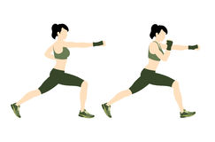 Young woman body combat and fitness. Young woman training body combat on a white background. Vector illustration Stock Image