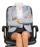 Young woman body sitting in chair Stock Photo
