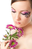 Young woman with bodyart butterfly on face Royalty Free Stock Photography