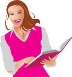 Young woman with book. Vector illustration stock illustration