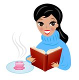 Young woman with book and cup of tea Stock Photo