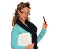 Young woman with book and pen Stock Images