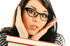 Young woman with books. Young female student with books on white background royalty free stock photos