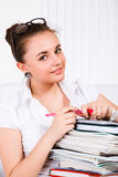 Young woman with books Royalty Free Stock Photos