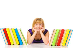 Young woman with books on floor. Isilated Stock Photo
