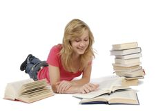 Young woman and Books Royalty Free Stock Photography