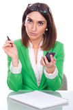 Young woman bored at work Royalty Free Stock Photo