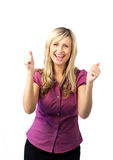 Young woman with both thumbs up Royalty Free Stock Photography