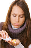Young woman with bottle of pills Stock Photography
