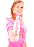 Young woman with bottle of water isolated Royalty Free Stock Image