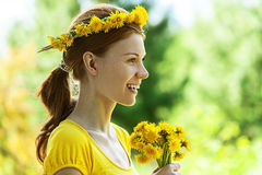 Young woman in with bouquet Royalty Free Stock Photos